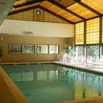 Our new fitness center overlooks our open pool area