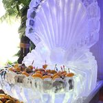  Ice Sculpture Surrounded by a Raw Bar