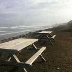 picnic tables over looking the beach