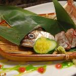 &quot;Horse mackerel/ AJI&quot; SASHIMI, UME/ Japanese Plum Puree, Mango Pearl, Herb Oil