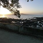  Dawn view from our campervan site at Takapuna Holiday Park