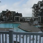 View of the pool/hot tub from the lodge. Our room is on the top floor on the right.