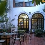 Nice, large, open-air patio with tables, chairs and beer/wine/soda vending machines.