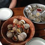 Oysters and steamed clams