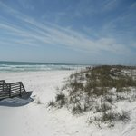 Here is where the very short boardwalk will take you...sugar white sand!