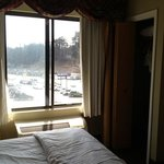 not much a view but a great little closet equipped with an extra pillow, iron, ironing board, an