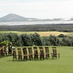  wedding ceremony on putting green
