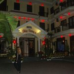  The hotel at night.