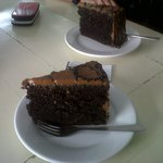 2 slices of choco caramel cake