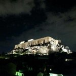 night shot of Acropolis from roof terrace