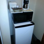 Balancing act of fridge, microwave & coffee pot