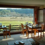  Breakfast tables looking onto the horses and fields beyond
