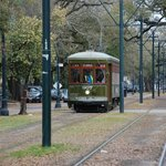 St. Charles trolley car approaching the Avenue