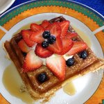 Awesome strawberry/blueberry home made waffle at Gite TerreCiel