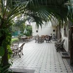 The large patio where you meet the other guests for breakfast and homecooked dinner