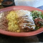 Chicken Burrito with half tomatillo alfredo and green chili... my favorite!