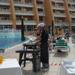 cooking  by the pool