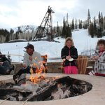 Mountainside fire pit and s'mores after a day of skiing