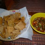  chips with salsa (fruit pico)