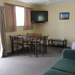 Living area of 1 of our 2 two bedroom Units sleeps 5 people has a Queen bedroom and a twin bedro