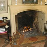 A cosy fireplace added atmosphere to the sitting room