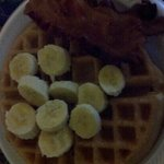 hot breakfast. fresh fruit waffle and side of bacon yum !