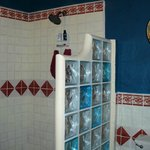 nice new big shower in the bathroom in the Casita