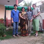 Aman, Ranjana and us in the garden