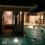 Pool and bedroom at night ..... Kids having a ball!