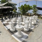 Giant chess at the beach bar