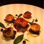 King Scallops, black puddingpork belly with spinach & cauliflower puree