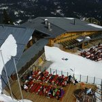 View from the ski lift down to the restaurant