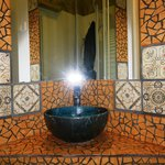  Hand-made tilework and hand painted pottery sink