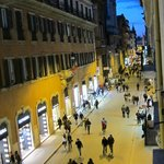 View from our Vivaldi Suite on Via Del Corso at night