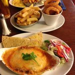 Chicken Madra, lasagne with ciabatta with extra chips and mushroom ring £15 amazing