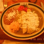  Chicken Enchiladas, rice, beans