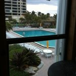 side view of pool from bar area
