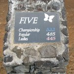  Number 5 tee box marker at the Kapalua Plantation Course