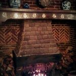The fireplace in the pub
