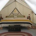Tent-cabins: king bed & unsurpassed comfort, yet evoking Gold Rush Era