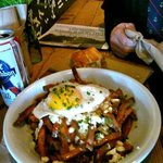  Poutine with fried duck egg.