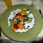  first course - oranges, berries, nuts