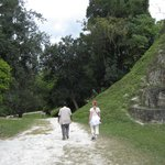 Billie and my wife walking thru Tikal