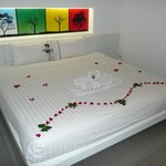 Superior room, bed decorated for our honeymoon.