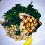 Grilled Swordfish, Satueed Spinach, Chickpea Salad