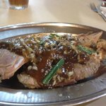  red snapper fish with garlic sauce