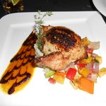 The stuffed chicken with mashed potatoes and roasted seasonal vegetables.  Delicious!