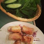 Fried prawn spring rolls