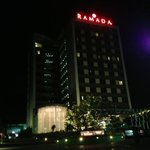 hotel exterior from driveway at night.
