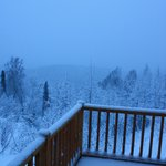Balcony view of the snow (Denali would be visible if it weren't for the snow!)